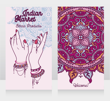 two cards for mandala, doodle vector illustration Иллюстрация
