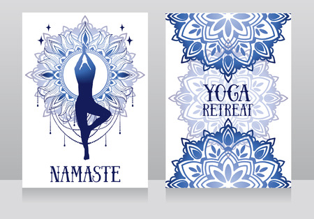 banner for yoga with mandala ornaments 向量圖像