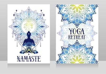 banner for yoga with mandala ornaments Ilustração