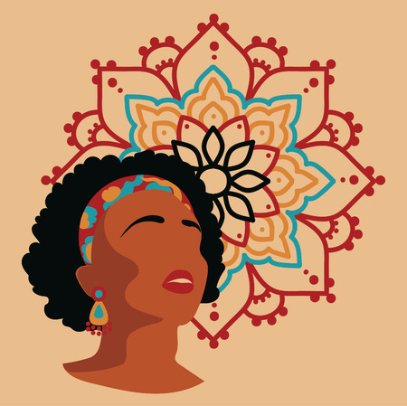 Portraint of african american woman in 80s style on round-pattern