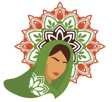 Portraint of arabic woman in traditional shawl