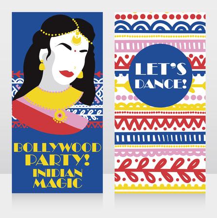 Karten für Bollywood-Party mit bunter Dame und ethnischen bunten Ornamenten