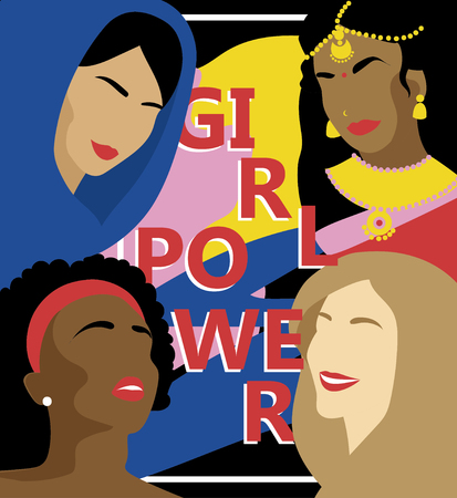 Poster for girl power with different nations