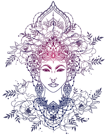 royal asian woman in crown and peonies frame