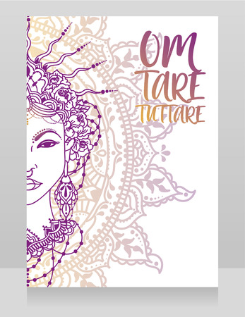 Poster with buddhist mantra and beautiful female goddess