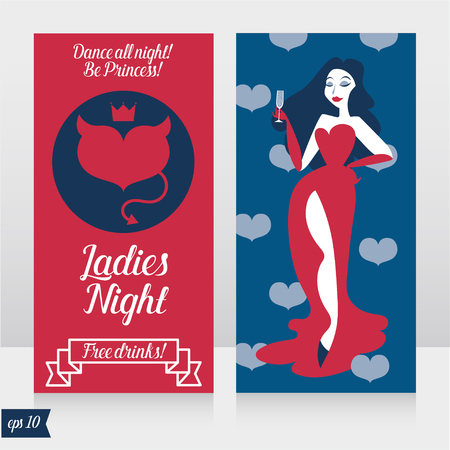 Two cards for ladies night party with glamor woman Çizim