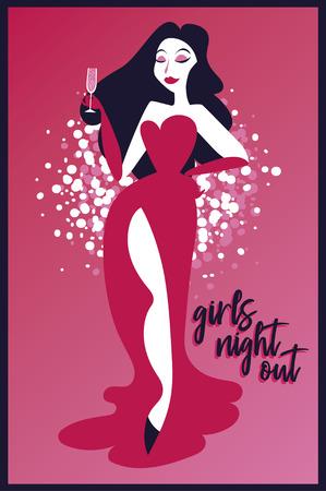 Affiche pour la soirée des dames avec une femme rétro buvant du champagne Vecteurs