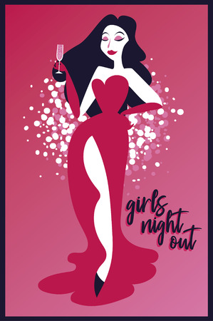 Poster for Ladies night party with retro woman drinking champagne