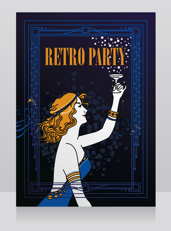 Old fashioned poster in art nouveau style
