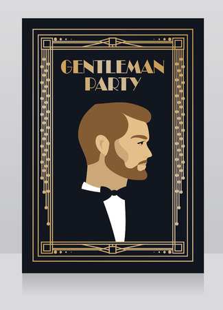 Poster for gentleman party in 20s style
