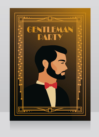 Poster for gentleman party in 20s style, illustration