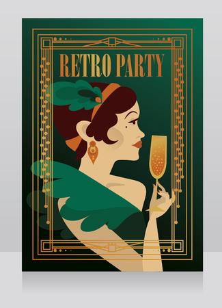 Lady drinking champagne Illustration
