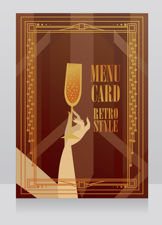 Menu card with champagne and retro style frame Çizim