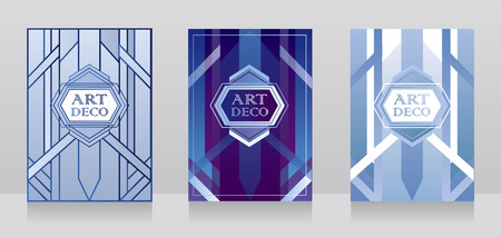 Three cards for art deco style with geometric design