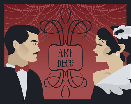 Poster for 20s style and gatsby party with retro lady and gentleman