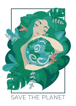 Banner with natural woman with green hair hugging our planet Çizim