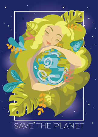 Banner with natural woman with green hair hugging our planet Illustration