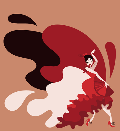 cartoon style gypsy dancer