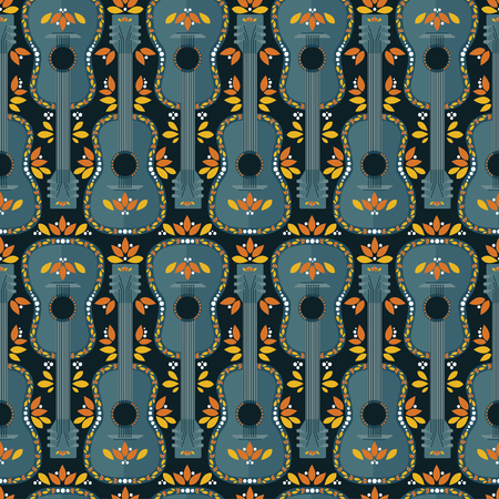Seamless pattern with cartoon flat style mexican guitars