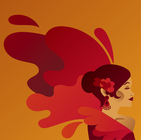 Poster for traditioinal spanish flamenco with gypsy lady 向量圖像
