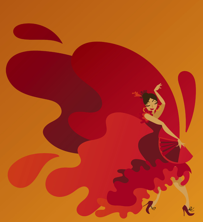 Poster for traditioinal spanish flamenco with gypsy lady Иллюстрация
