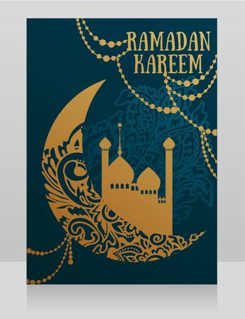 Banner for Ramadan Kareem with golden ornament  イラスト・ベクター素材