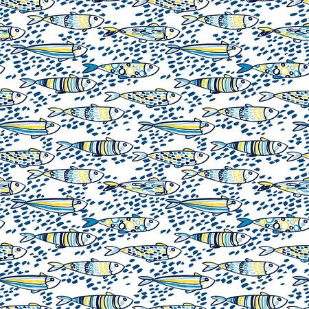 Seamless pattern with cute doodle sardines Ilustrace
