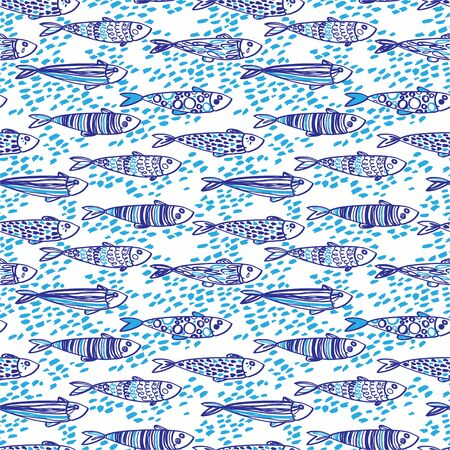 Seamless pattern with cute doodle sardines 矢量图像