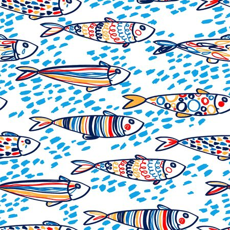 Seamless pattern with cute doodle sardines Ilustracja