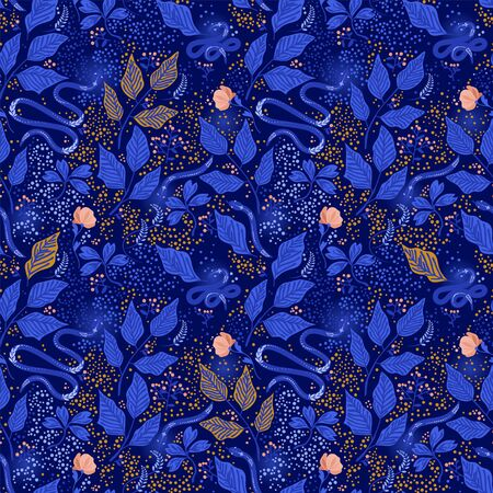 Seamless forest pattern with leaves, berries and snakes Stock Illustratie