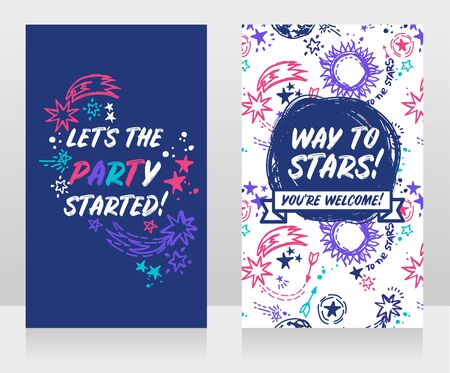 Two banners for cosmic style party with stars