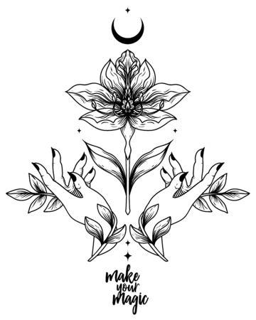 Poster with flower and female hands, female sacral symbol Illusztráció