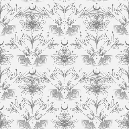 Seamless pattern with flowers, leaves and female hands