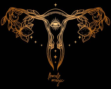 Poster with blooming uterus, vector illustration