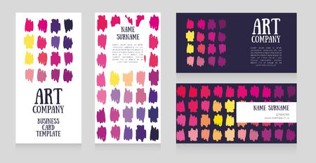 Set of cards templates for art school or art company Ilustrace