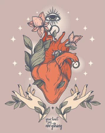 Poster with blooming heart, shining eye and female hand