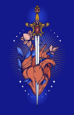 Poster with blooming heart with sword in it