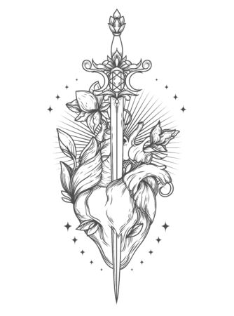 Poster with blooming heart with sword in it Ilustración de vector