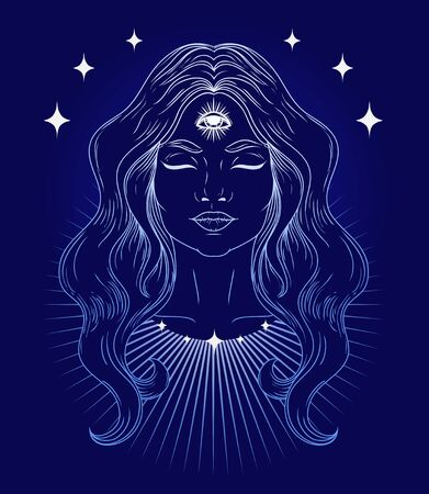 Poster with spiritual woman with third eye, vector illustration