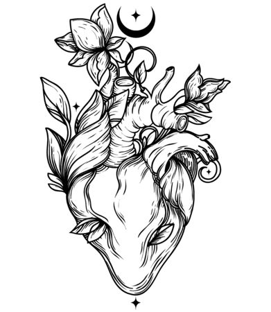 Poster with blooming human's heart, crescent and stars, sacral symbol of love