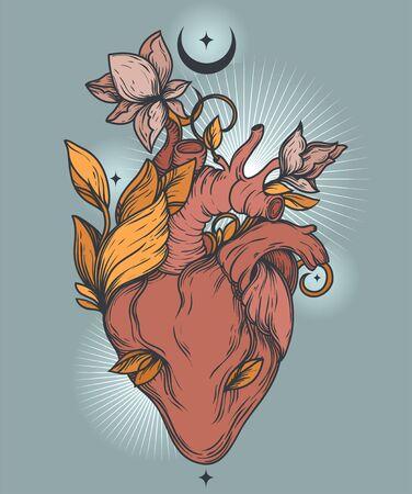 Poster with blooming human's heart, crescent and stars Illusztráció