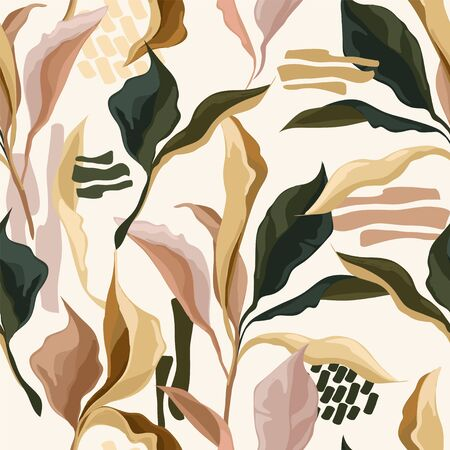 Elegant seamless patterns with colorful creative leaves, trendy soft colors