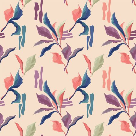 Seamless patterns with colorful creative leaves, trendy soft colors