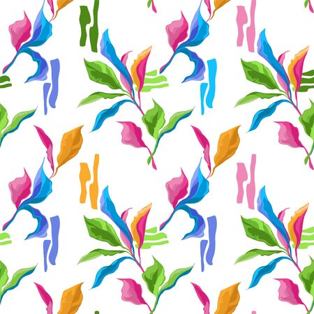 Seamless pattern with colorful creative leaves on white background, tropial colors