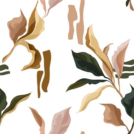Seamless patterns with colorful creative leaves, pastel palette