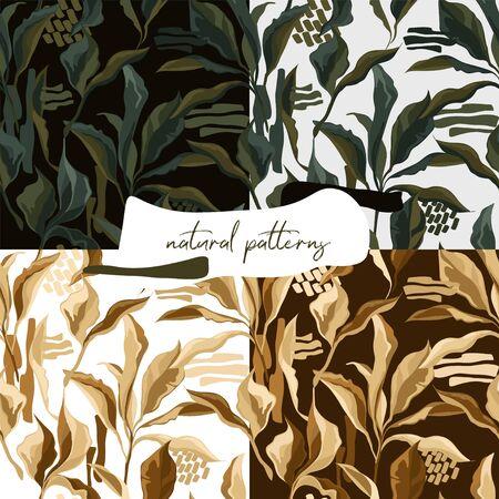 Set of seamless patterns with elegant creative leaves, autumn colors Illusztráció