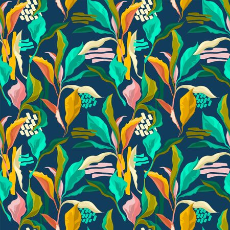 Seamless pattern with colorful creative leaves, tropial colors Ilustrace