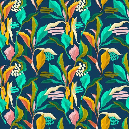 Seamless pattern with colorful creative leaves, tropial colors Illusztráció