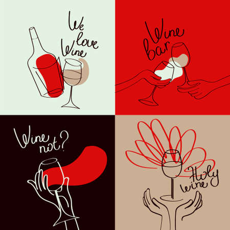 Set of four banners for wine bar and wine lovers, simply lines style, retro palette, vector illustration Ilustração