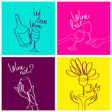 Set of four banners for wine bar and wine lovers, simply lines style, funky style palette, vector illustration